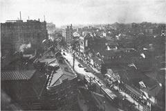 「建築と社会」1928(昭和3)年1月号より「北濱ビルより望みたる堺筋一帯」