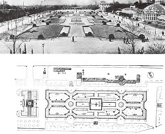 「建築と社会」1934(昭和9)年4月号特集『公園』「新天王寺公園グラフ」より「沈床花壇」