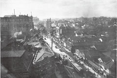 「建築と社会」1928(昭和3 )年1月号より「北濱ビルより望みたる堺筋一帯」